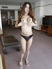 20yo busty Thai shemale strips and shows her big tits and small cock