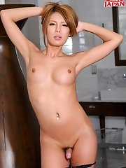 Beautiful and sexy Japanese doll Rui Matsushita is a hot tgirl that knows how to have some fun. Watch her strip down and strokers her hot tgirl cock.