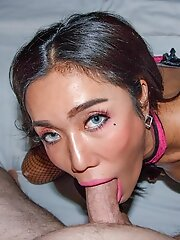 Ladyboy Mos is wearing pink lingerie, stockings, and black heels. Watch her getting her tight ass fucked bareback in this POV hardcore scene!