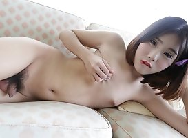 18yo sweet looking Chinese ladyboy gets her fill of white cock