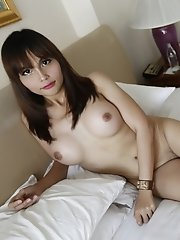 23yo busty Thai newhalf sucked off white cock and gets fucked in her tight ass