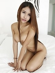 19yo busty Thai shemale strips and sucks white cock