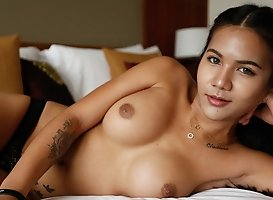 Horny 20yo Thai ladyboy loves to have fun and big white cocks
