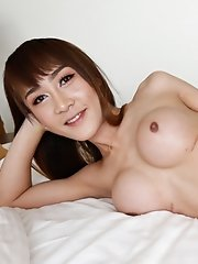 21 year old busty Thai ladyboy gets big facial from BWC