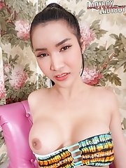 Watch ladyboy Emmy plays with her sexy body, letting her fingers explore her big tits, ass then jerks off her cock until she reaches her climax!