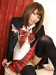 Horny schoolgirl Reina Minazuki has a tight she-pussy under that skirts of hers. Let's see if she'll give you a sweet taste!
